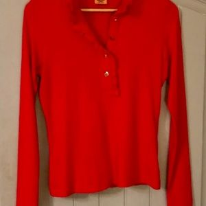 Tory Burch Lidia red polo Small, long sleeve